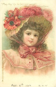 girl in pink, poppy & ostrich feathers trim her hat