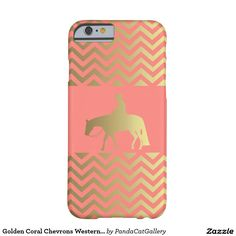 Golden Coral Chevrons Western Pleasure Horse Barely There iPhone 6 Case