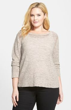 Eileen Fisher Ballet Neck Mélange Sweater (Plus Size) available at #Nordstrom