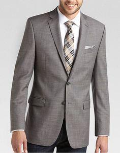 Calvin Klein Taupe Check Slim Fit Sport Coat - Slim Fit   Men's Wearhouse