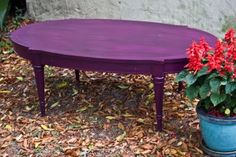 Modernly Shabby Chic Furniture: Purple w/ Black Coffee Table