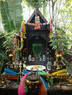 An altar for honoring the ancestors where we stayed in Chiang-Mai, Thailand.