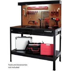 Garage Workbench w Drawers w Light Work Bench Tools Table Home Utility Workshop #WorkPro