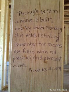 Building our house on the word of God 2019 scriptures on studs of new home during building process! The post Building our house on the word of God 2019 appeared first on House ideas. Next At Home, First Home, House Blessing, My New Room, Word Of God, My Dream Home, Decoration, Decorating Your Home, Decorating Ideas