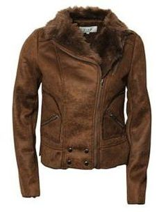 A gorgeons faux leather jacket with faux fur trim collar.  It's a winner!