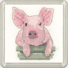 Pig Coaster Kit - Heritage Crafts Cross Stitch Kit