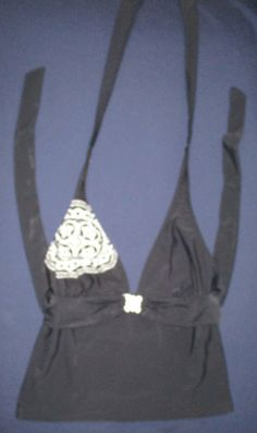 Item number- 152093019298 Womens Size M (8/10) FADED GLORY Black Halter Style Top Fully Lined #FadedGlory #TankiniTop