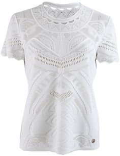 Roberto Cavalli White Short Sleeve Lace and Crochet Pullover