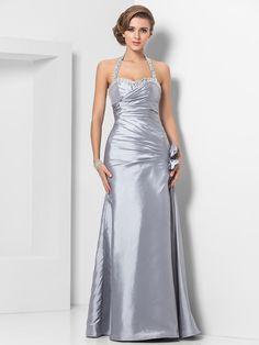Formal+Evening/Military+Ball+Dress+-+Silver+Plus+Sizes+Sheath/Column+Halter/Sweetheart+Floor-length+Taffeta+-+USD+$119.99