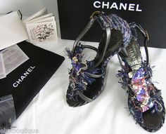 SIZE 7.5 - CHANEL Tweed SHOES Leather D'Orsay Pumps Sandals 38.5 8.5 Sequin Bag NIB $2,350+