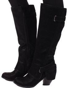 Strappy Black Suede Boot