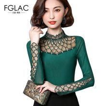 FGLAC Women blouse shirt 2018 fashion long sleeve blouse Hollow out Lace  tops Elegant Slim Patchwork plus size Mesh tops 59ca1dde5ed4