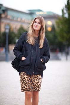 Leopard print curbs its vamp rep when worn with an oversized bomber jacket — Stockholm Fashion Week Spring 2013