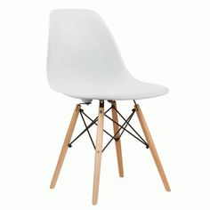 Charles & Ray Eames Inspired Eiffel DSW Retro Design Wood Style Chair for Office Lounge Dining Kitchen - White Modern Dining Chairs, Dining Chair Set, Dining Room Chairs, Side Chairs, Dining Area, Chair Eames, Desk Chair, Modern Furniture, Furniture Design