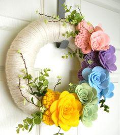 Think Spring 12 inch Felt and Yarn Wreath by EllaBellaMaeDesigns, $48.00