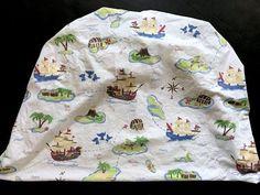 PBK Pirate Map Crib Sheet Treasure Cove Pottery Barn Kids Ships Parrots Baby  | eBay