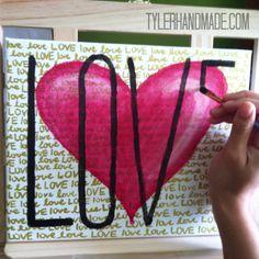 Handpainted LOVE canvas art