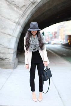 Winter City Fashion 2013. Houndstooth scarf & a gorgeous fedora. ::M::
