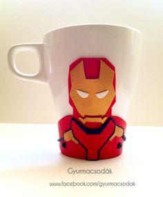 Polymer clay Ironman mug and spoon: handmade Ironman gift. Collect all of the Marvel mugs. Ordering info: gyurmacsodak@gmail.com Credit: @csontosadri  https://www.facebook.com/gyurmacsodak/