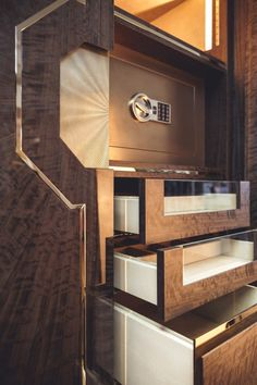 INTERIOR-iD - Showcase cabinet in stained eucalyptus featuring liquid metal safe Built In Furniture, Bedroom Furniture Design, Home Decor Furniture, Cute Living Room, Classic Living Room, Bathroom Interior, Kitchen Interior, Decorative Metal Screen, Fall Bedroom Decor