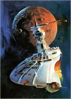 Spaceship near a red moon by John Berkey. #spaceships #JohnBerkey