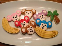 Monkeys, Banana, Palm Tree Decorated Sugar Cookies by I Am The Cookie Lady