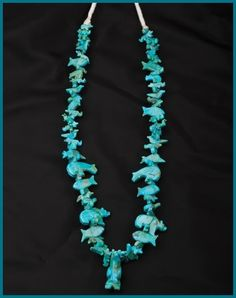 Fetish Necklace of Turquoise from the Collection of Authentic Native American Navajo handcrafted jewelry.