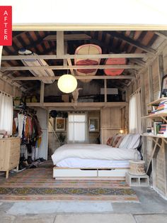 Before & After: This Garage Got the Most Unexpected Makeover Garage Makeover - Apartment Therapy Bedroom Makeover - Bedroom Decorating . Surf Shack, Beach Shack, Bedroom Apartment, Apartment Therapy, Basement Apartment, Garage Apartment Interior, Garage Studio Apartment, Garage Art Studio, Apartment Makeover