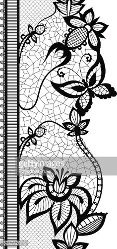 Vector Art : Abstract lace with elements of butterflies and flowers