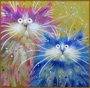 """Алмазная мозаика """"Прикольные коты"""" 20 х 20 см, арт. N-296"""