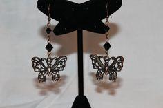 Copper & Jet Black Crystal Butterfly Dangles by GemsByJennie, $10.00