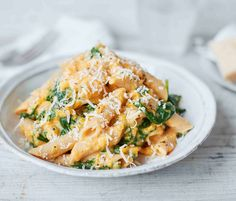 A delicious family meal, this healthy pasta recipe combines wholemeal pasta, nourishing spinach and a creamy butternut squash sauce.