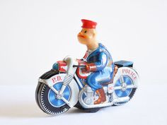 Highly Collectible Authentic Haji Japanese Tin Toy / Police Motorcycle No.7