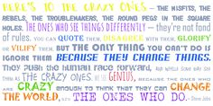 steve jobs QUOTES  Here's to the CRAZY ones