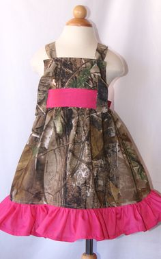 Real Tree hunting camo Knot dress with ruffles in by Philopolis, $29.95