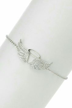 All That Glitters Pave CZ Angel Wing Charm Bracelet on HauteLook Stylish Jewelry, Cute Jewelry, Jewelry Box, Jewelery, Silver Jewelry, Jewelry Accessories, Fashion Jewelry, Jewelry Design, Crystal Jewelry