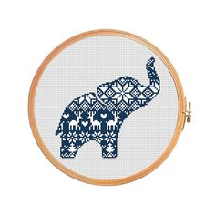 Christmas elephant nordic pattern - cross stitch pattern - traditional pattern ornament merry christmas decoration xmas Scandinavian