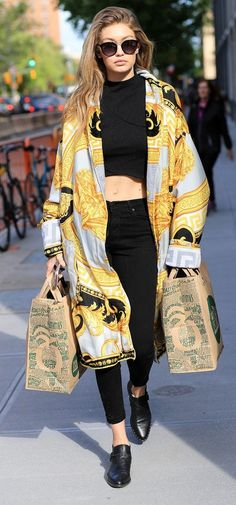 Gigi Hadid: Twenty Studded Jacquard Top, Versace Coat and Tote, Parker Smith Bombshell Skinny Jeans