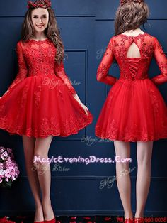 Classical Scoop Three Fourth Length Sleeves Short Evening Dress with Beading and Lace
