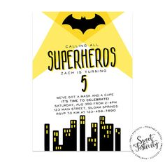 Batman Superhero Party Printable Birthday Party by SweetFestivity