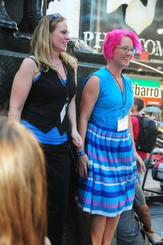 me in NYC Times Square with other blue man fans giving a wiggling homage to wiggling compilation video! :)  <3