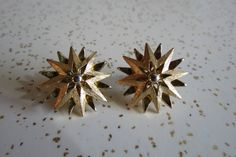 Vintage 50's 60's Layered Atomic Gold Tone Starburst Clip On Earrings by AdoredAnew on Etsy