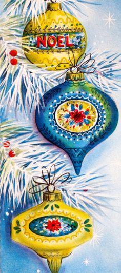 Vintage Hallmark Christmas Card - Ornaments on White Tree Vintage Christmas Images, Old Christmas, Hallmark Christmas, Old Fashioned Christmas, Vintage Christmas Ornaments, Retro Christmas, Vintage Holiday, Christmas Pictures, Christmas Greetings