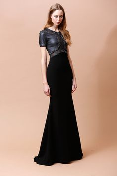 Be a Gaultier inspired warrior princess in this metallic meets velvet with bead stud type embellishments.  Badgley Mischka   Pre-Fall 2014 Collection   Style.com