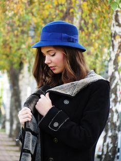 Blue felt hat for her  Women winter hat  Wool felt hat