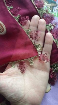 This Pin was discovered by Ahm Needle Lace, Needle And Thread, Crochet Stitches, Embroidery Stitches, Saree Tassels, Border Pattern, Ribbon Work, Lace Making, Bargello