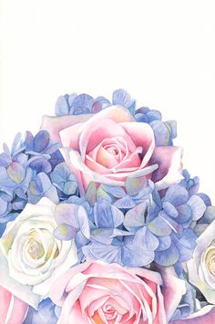 Floral bouquet print of watercolour painting by LouiseDeMasi