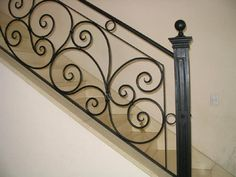 Interior Stair Railing, Wrought Iron Stair Railing, Stair Railing Design, Iron Staircase, Metal Stairs, Wrought Iron Gates, Staircases, Wall Hanging Wine Rack, Stairs Balusters