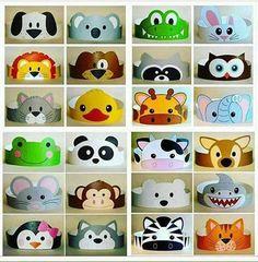 Pin by Eric Reichert on ulang tahun Kids Crafts, Animal Crafts For Kids, Animal Masks For Kids, Headband Crafts, Hat Crafts, Ear Headbands, Paper Crowns, Animal Hats, Diy Birthday