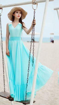 2018 Light Blue Evening Dresses Long Elegant Chiffon V Neck Prom Dress  Formal Gowns bf8317fa5d22